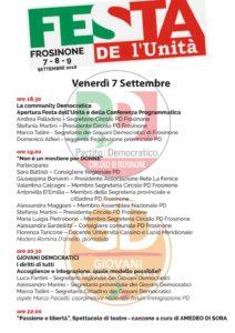 Venerdì 7 - Festa de l'Unità Circolo Frosinone